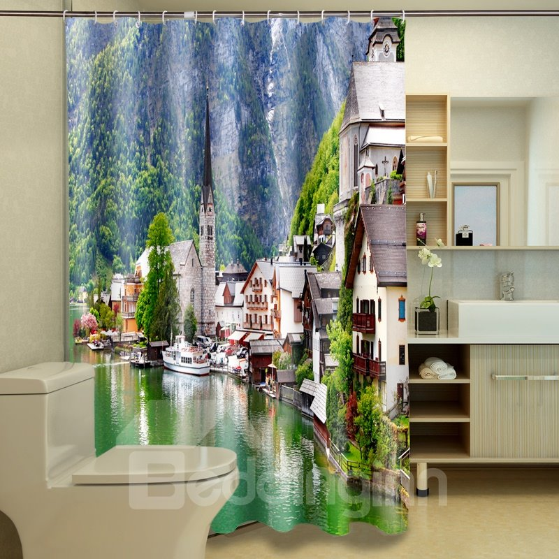 Peaceful Warm Natural Seaside Landscape Dacron 3D Shower Curtain