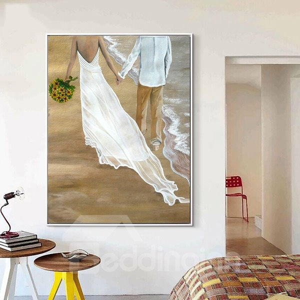 Modern Romantic Lovers Walking on the Beach Framed 1-Panel Wall Art Print