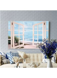 21×31in Fake Window Beach Hanging Canvas Waterproof and Eco-friendly Framed Prints