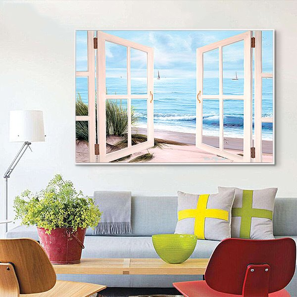 Window Frame Wall Art fantastic 3d window beach view framed 1-panel wall art print