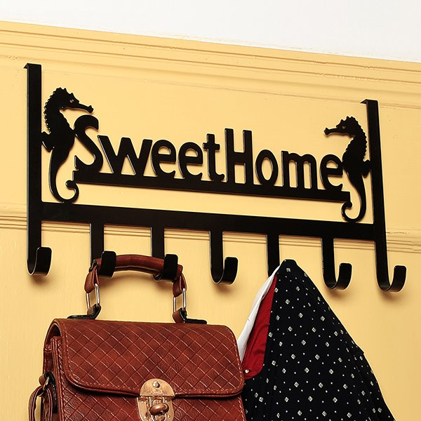 Wonderful Iron Sweet Home Drilling-Free 7-Hook Door Hooks