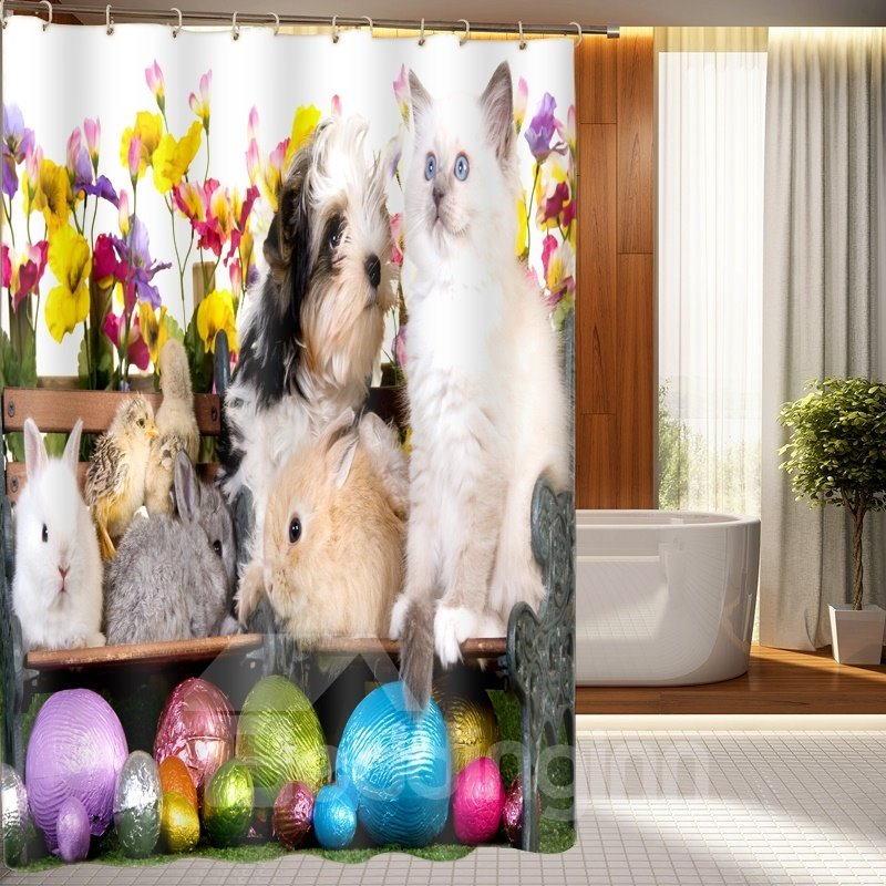 Sweet Cute Small Animal Pattern 3D Shower Curtain