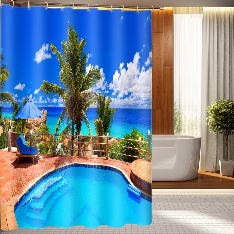New Arrival Tranquil Swimming Pool Pattern 3D Shower Curtain