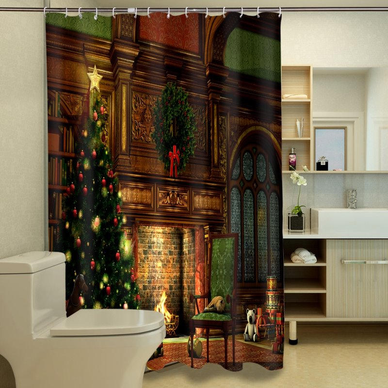 69 New Arrival Fantastic Christmas Tree Print 3D Shower Curtain