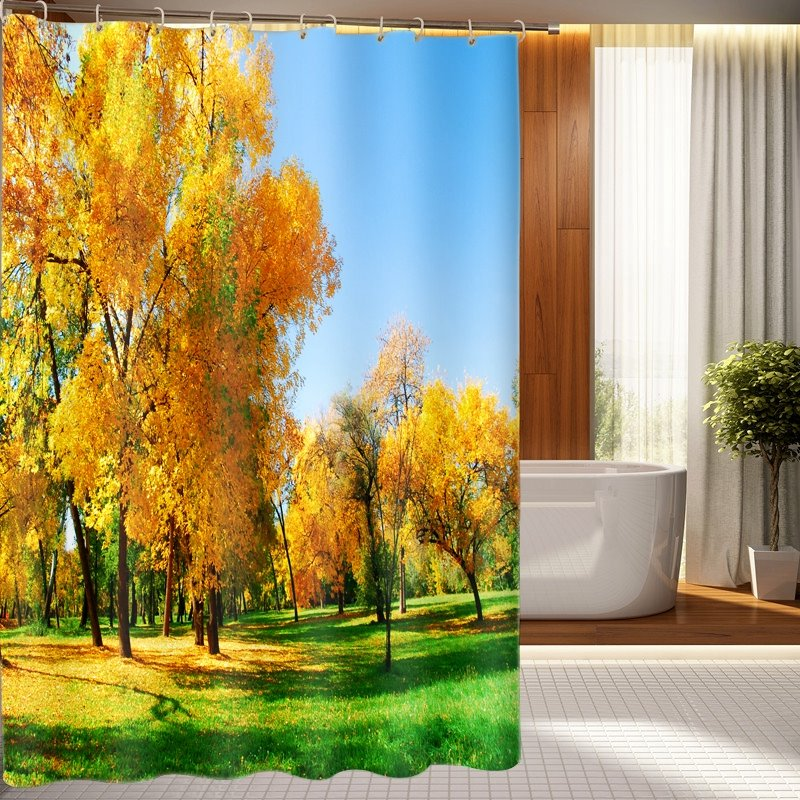 Fabulous Idyllic Autumnal Scenery 3D Shower Curtain