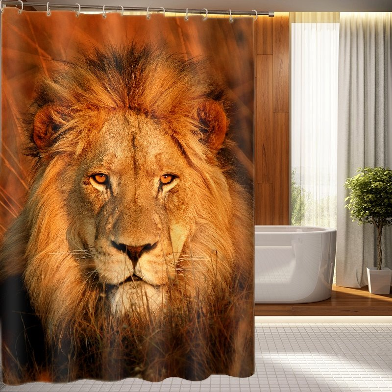 3d Lion Printed Polyester Light Brown Bathroom Shower