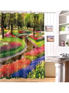 Glam Spring Creek 100% Polyester 3D Shower Curtain