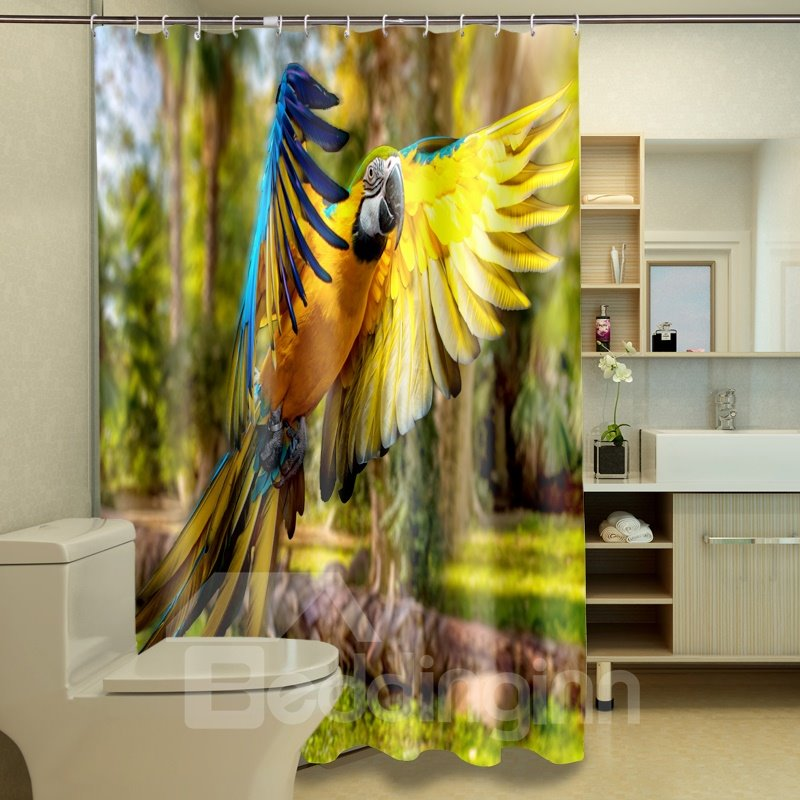 Pretty Colorful Parrot Print 100% Polyester 3D Shower Curtain