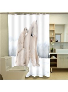 High-class Gentle Polar Bear Mom and Son 3D Shower Curtain