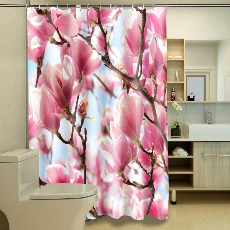 Creative Lush Pink Magnolia Pattern 3D Shower Curtain