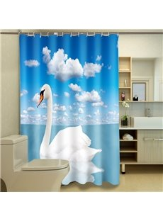 Top Grade Beautiful White Swan 3D Shower Curtain