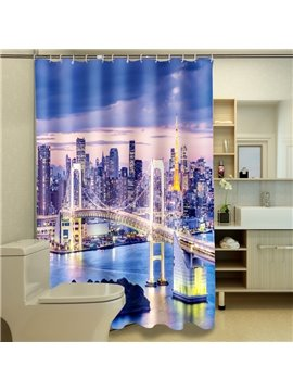Superior Starry Golden Gate Bridge Night Landscape 3D Shower Curtain