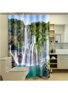 Amazing Impressive Waterfall on Mountain 3D Shower Curtain