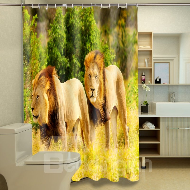 Distinctive Cool Two Lion Brothers 3D Shower Curtain