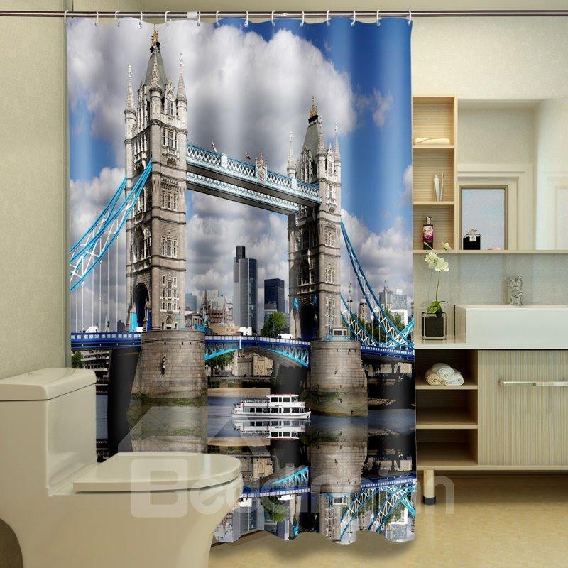 Stylish London Bridge Printed Waterproof 3D Shower Curtain