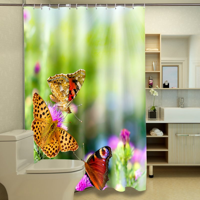 Vivid Gorgeous Butterflies Pattern 3D Shower Curtain
