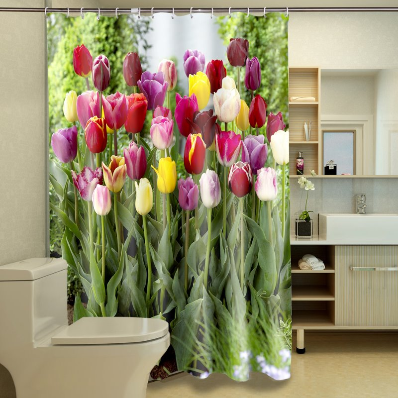 Colorful Tulips Pattern Dacron Waterproof and Eco-friendly 3D Shower Curtain