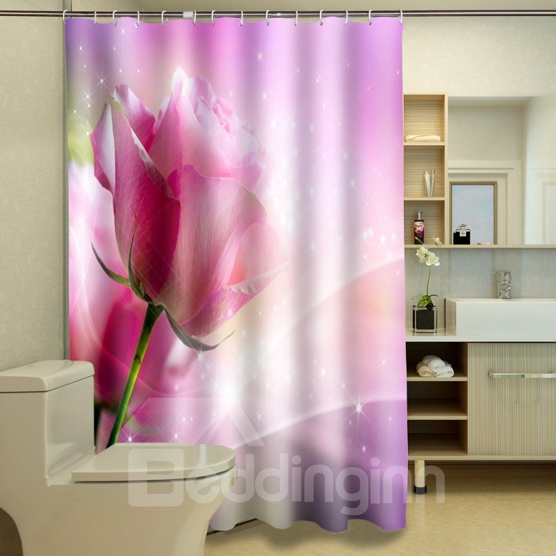 Beautiful Romantic Rose Print 100% Polyester 3D Shower Curtain