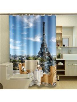 High Quality Hot Eiffel Tower Print 3D Shower Curtain