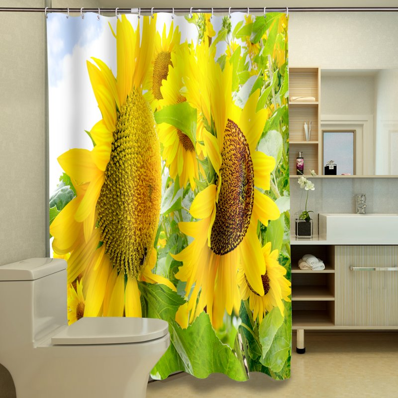 Top Grade Splendid Sunflower 100% Polyester 3D Shower Curtain