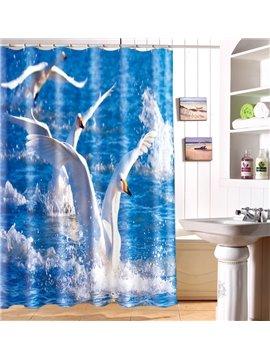 New Arrival Lovely Flying Birds Print Polyester 3D Shower Curtain