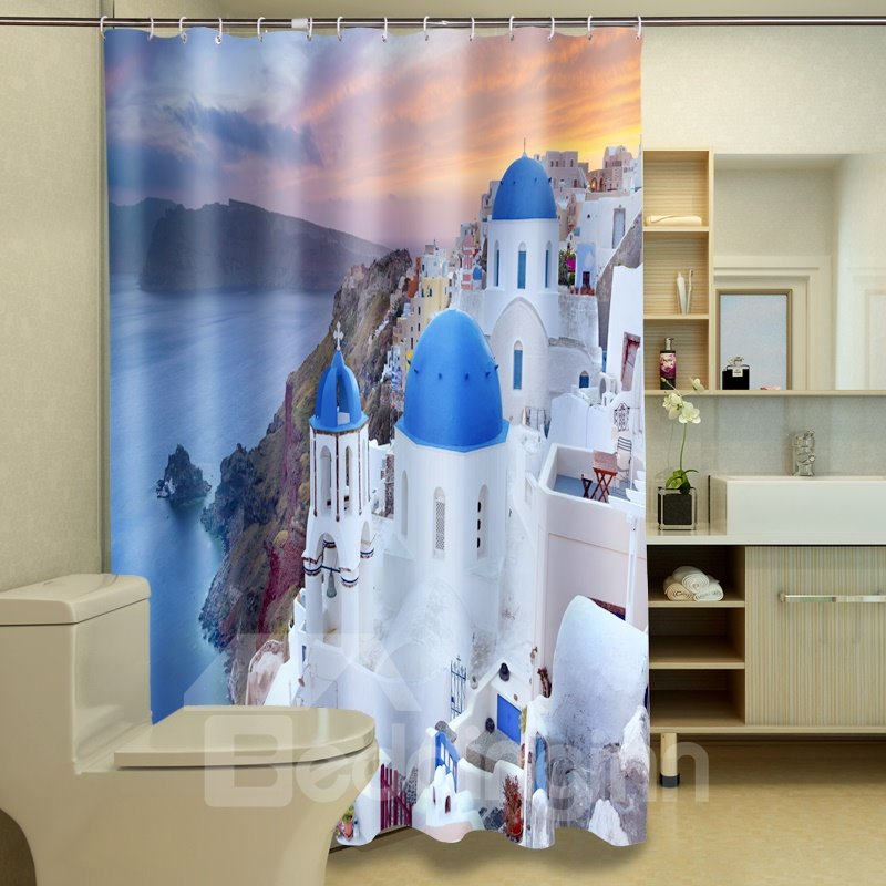 New Style Fantastic Castle Polyester 3D Shower Curtain