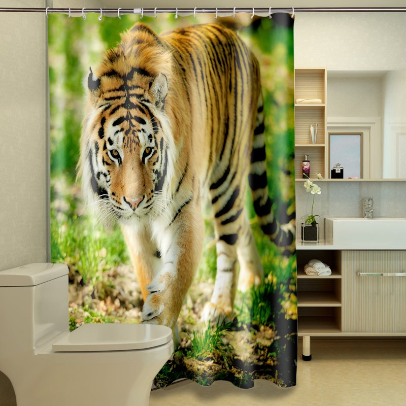 3D Walking Tiger on Grassland Printed Polyester Shower Curtain