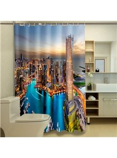 New Style Attractive Cityscape 100% Polyester 3D Shower Curtains