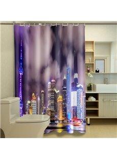 Unique City View Night Scene 3D Shower Curtain