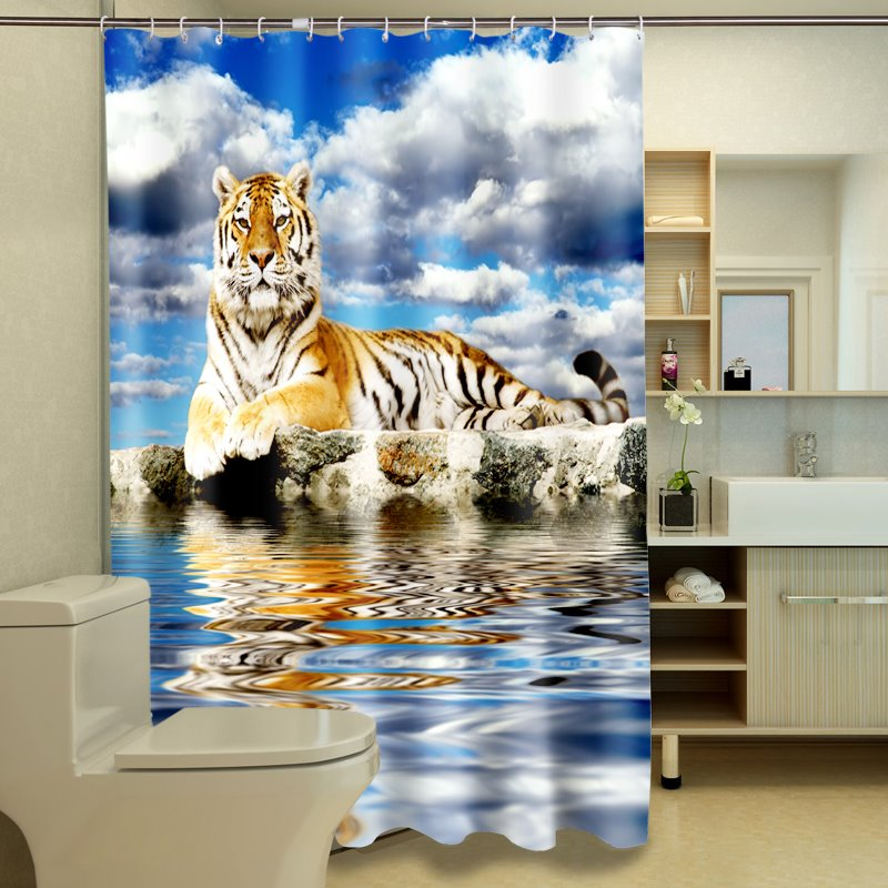 3D Lying Tigers Under the Blue Sky Printed Polyester Shower Curtain