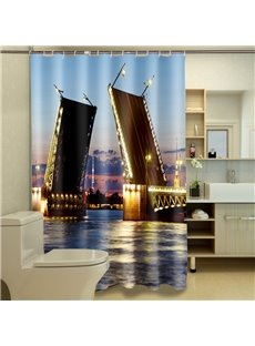 Creative Fashionable Bridge Waterproof Polyester 3D Shower Curtains