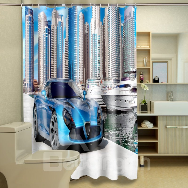 High Quality Modern Building And Luxury Car 3D Shower Curtain