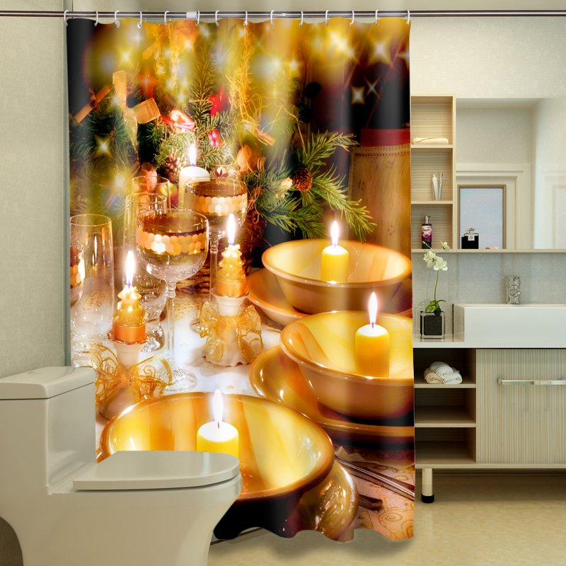 Unique Elegant Christmas Dinner Image 3D Shower Curtain