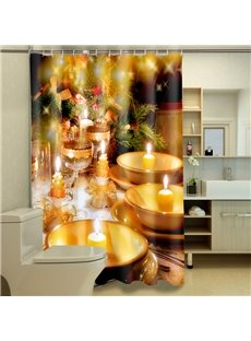Unique Elegant Christmas Dinner Image 3D Shower Curtain