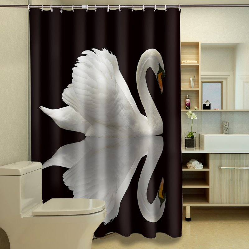 Graceful Lonely Swan Waterproof 3D Shower Curtain