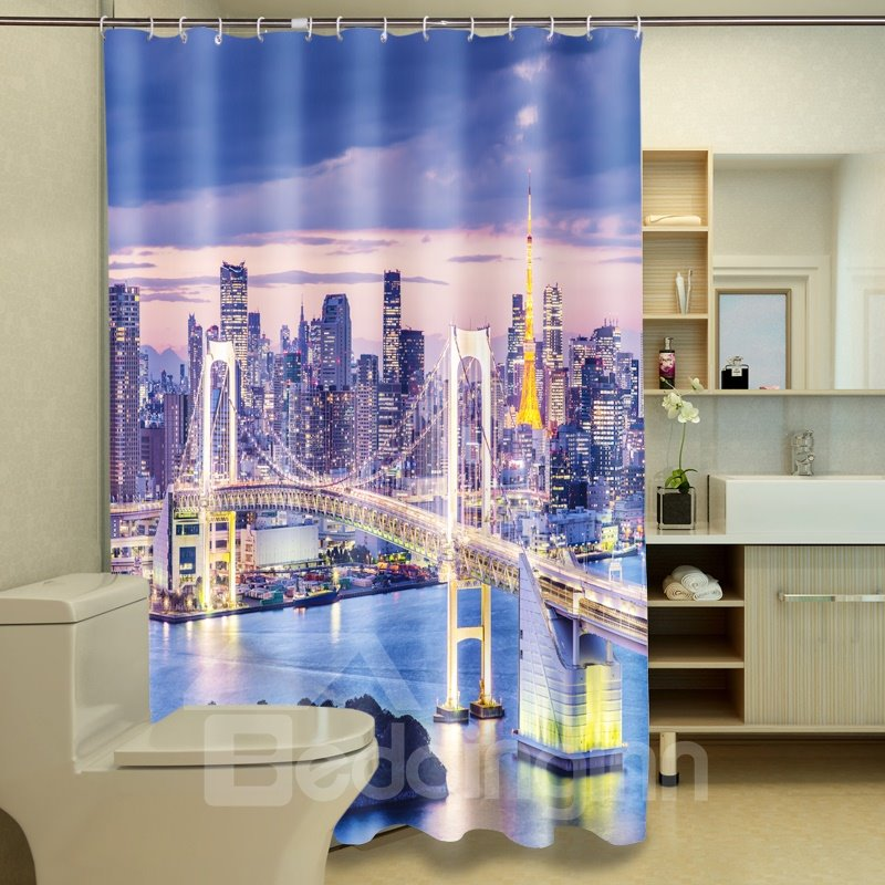 Magnificent Modern Cityscape And Glaring Bridge Image 3D Shower Curtain