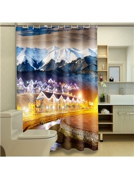 Magnificent Snow-capped Mountains & Mountain Villas 3D Shower Curtain