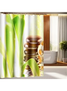 Unique Fresh Style Flower Stem Leaves & Stones 3D Shower Curtain