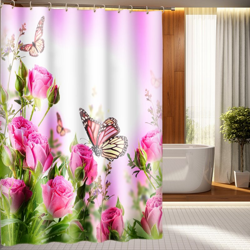 Elegant Romantic Pink Flowers And Butterfly 3D Shower Curtain
