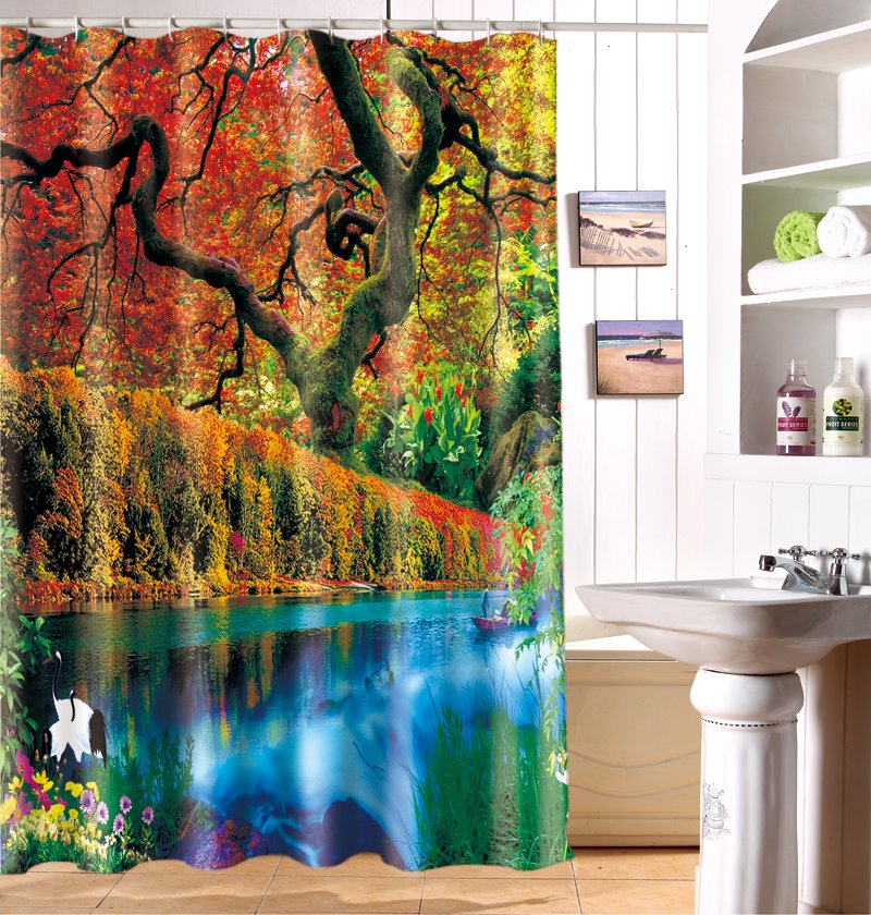 Excellent Secluded Natural Beauty 3D Shower Curtain
