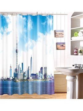 Superb Charming Urban Scene 3D Shower Curtain