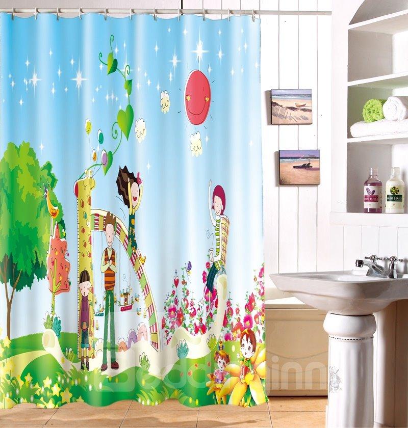 Unforgettable Wonderful Time Cartoon Image 3D Shower Curtain