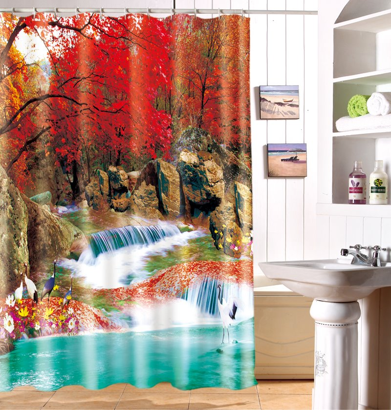 Graceful Autumn Woodsy Waterfall 3D Shower Curtain