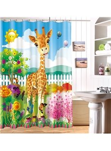Fashionable Design Adorable Cartoon Giraffe 3D Shower Curtain