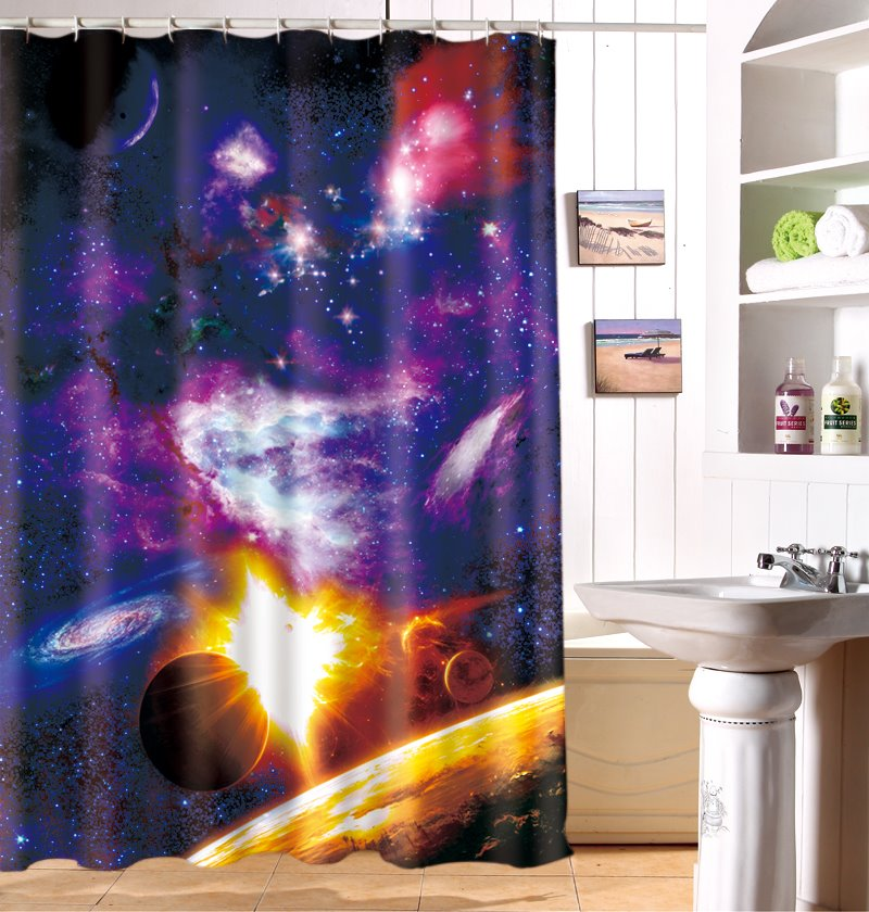 3D Galaxy Printed Polyester Purple Shower Curtain