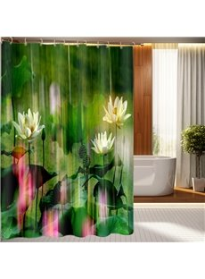 Special Design White Water Lilies 3D Shower Curtain