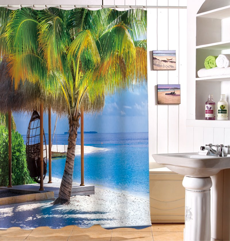 Super Fantastic Relaxing Seaside 3D Shower Curtain