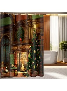 Warm and Sweet Christmas Festival Fabric 3D Shower Curtain
