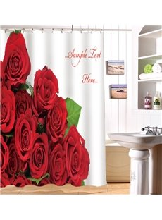 Vivid Glam Red Roses Image 3D Shower Curtain