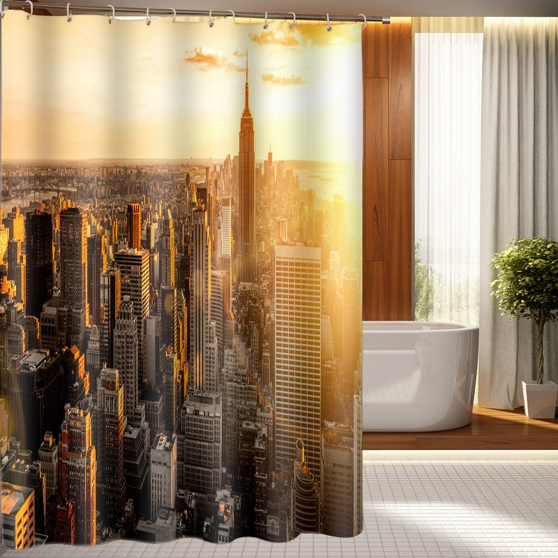 Metropolis Morning View Bathing Waterproof Bathroom 3D Shower Curtain